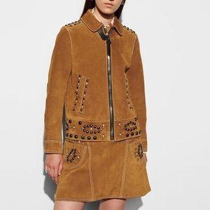 COACH Women's Brown Suede Stud Jacket